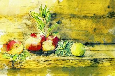 Painting - Still Life Apples In Bowl by Shabby Chic and Vintage Art