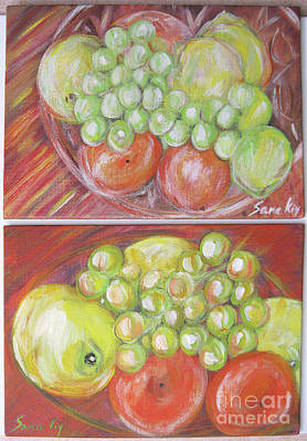 Painting - Still Life Art Collection Of Small Acrylic Paintings by Oksana Semenchenko