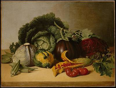 Painting - Still Life Balsam Apple And Vegetables by Celestial Images