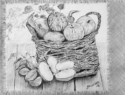 Still Life Drawings - Still Life - Basket of Apples by Jose A Gonzalez Jr