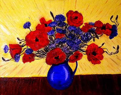 Still Life Drawings - Still Life - Blue Vase with Poppies and Cornflowers by Jose A Gonzalez Jr