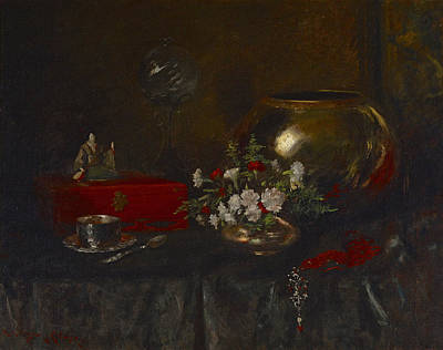 Painting - Still Life. Brass Bowl by William Merritt Chase