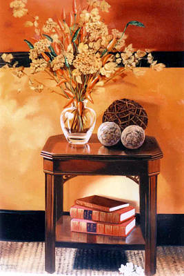 Print featuring the painting Still Life by Chonkhet Phanwichien