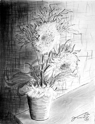 Still Life Drawings - Still Life - Clay Vase with 3 Sunflowers by Jose A Gonzalez Jr