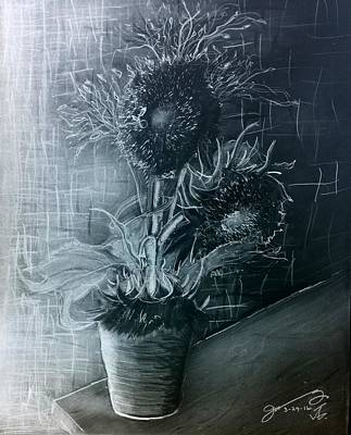 Still Life Drawings - Still Life - Clay Vase with 3 Sunflowers - the Negative by Jose A Gonzalez Jr