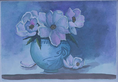 Still Life Drawings - Wild rose plant. Still life, flowers in a vase. Blue colors background. by Elena Pavlova
