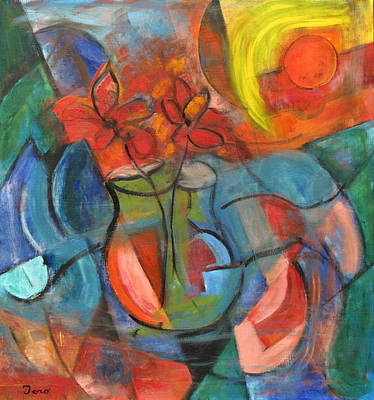 Painting - Still Life-flowers With Fruit by Trish Toro