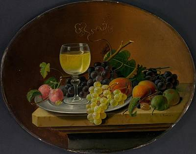 Still Life Fruit And Wine Glass Original by Severin Roesen