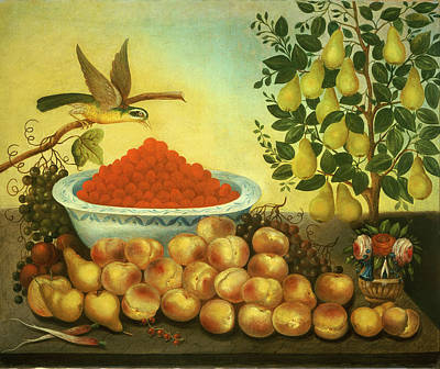 Painting - Still Life, Fruit, Bird, And Dwarf Pear Tree by Charles Bond