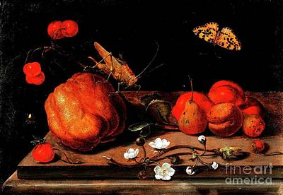 Painting - Still Life Fruit Grasshopper Butterfly by Reproduction