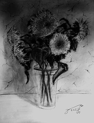 Still Life Drawings - Still Life - Glass with 5 Teddy Bear Sunflowers by Jose A Gonzalez Jr