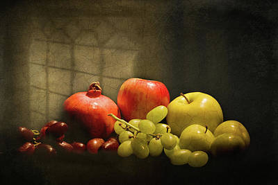 Photograph - Still Life - Grapes Apples And Pomegranate  Under A Window by Levin Rodriguez