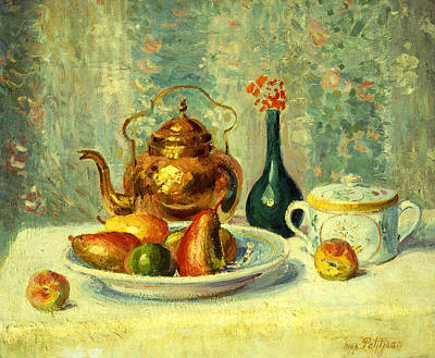 Tea Service Painting - Still Life by Hippolyte Petitjean
