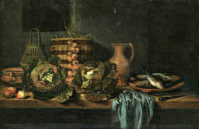 A Still Life Of A Fish Painting - Still Life by Hubert van Ravesteyn