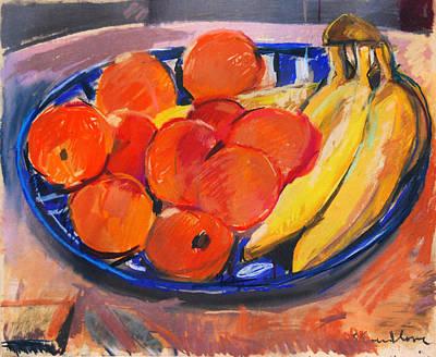 Pastel - Still Life In Blue Bowl by Zolita Sverdlove