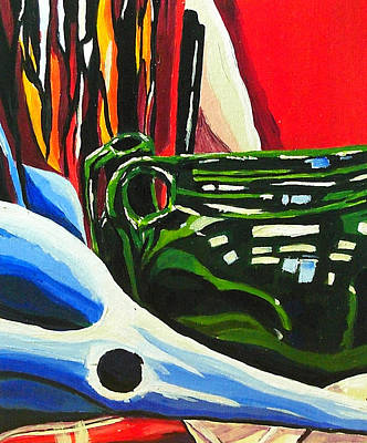 Still Life In Red Blue Green Art Print by Amy Williams