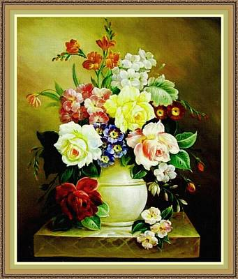 Still Life With Fish Digital Art - Still Life - In The Old Style H B With Decorative Ornate Printed Frame. by Gert J Rheeders