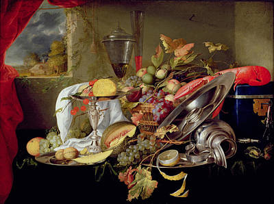 Bunch Of Grapes Painting - Still Life by Jan Davidsz Heem