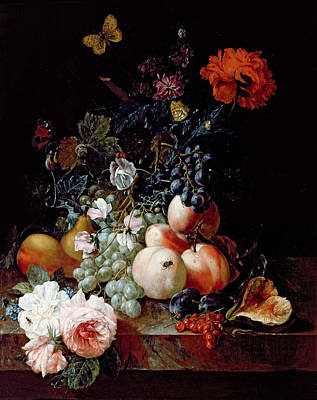 Bunch Of Grapes Painting - Still Life  by Johann Amandus Winck