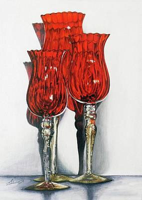 Candle Stand Painting - Still Life by Lakshmi Prakash