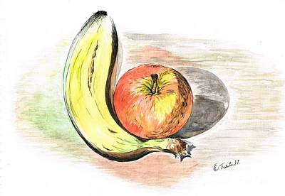 Mixed Media - Still Life Of Apple And Banana  by Teresa White