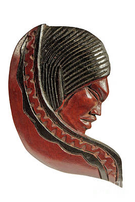 Still Life Of Brazilian Female Mask In Carved Wood Art Print by Marco Gallarino