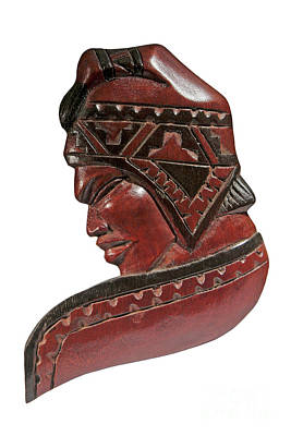 Still Life Of Brazilian Male Mask In Carved Wood Art Print by Marco Gallarino