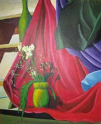 Step Stool Painting - Still Life Of Flowers And Cloth by Ronald Lee