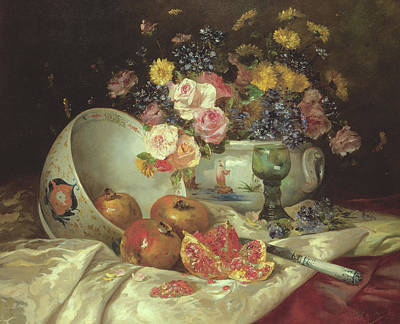 Still Life Of Flowers In A Chinese Vase With Pomegranates Print by Eugene Henri Cauchois