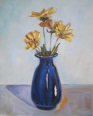 Painting - Still Life Of Flowers In Blue Vase by RB McGrath