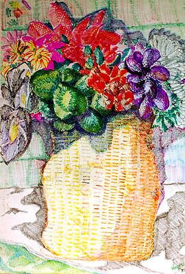 Drawing - Still Life Of Flowers by Jame Hayes