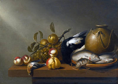 A Still Life Of A Fish Painting - Still Life Of Fruit Fresh-water Fish On An Earthenware Platter Birds And A Stoneware Pot  by Harmen Steenwyck
