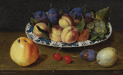 Plate Of Grapes Painting - Still Life Of Fruit by Jacob van Hulsdonck