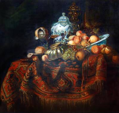 Still Life Of Fruits And Opulent Objects Attributed To Willem Kalf Original by Michael Durst