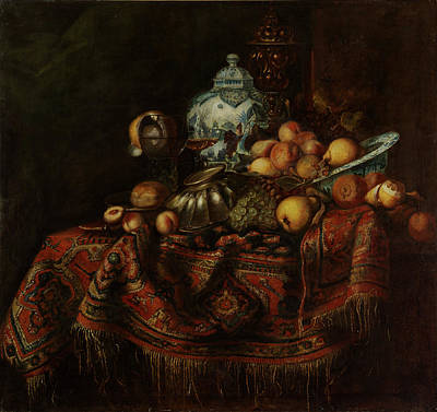 Still Life Of Fruits And Opulent Objects Art Print
