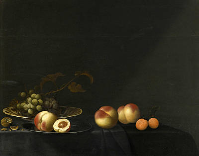 Painting - Still Life Of Grapes Peaches Apricots And Walnuts All Upon A Table Draped In A Dark Fabric by Evert van Aelst
