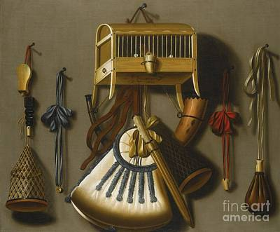 Cage Painting - Still Life Of Hunting Equipment  by MotionAge Designs