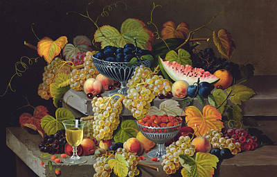 Plum Painting - Still Life Of Melon Plums Grapes Cherries Strawberries On Stone Ledge by Severin Roesen