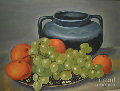 Painting - Still Life Of Oranges And Grapes by Margit Armbrust