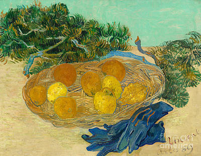 With Blue Painting - Still Life Of Oranges And Lemons With Blue Gloves, 1889 by Vincent Van Gogh