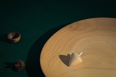 Wooden Platter Photograph - Still Life Of Pale And Dark Wood Handicrafts On A Racing Green Back Ground by Robert L Phillips