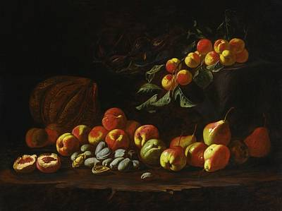 Still Life Of Peaches Art Print by Anthony Oakshott