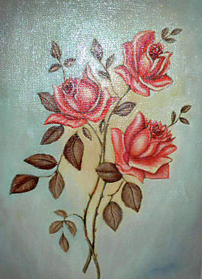 Painting - Still Life Of Pink Roses by Margit Armbrust