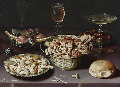 Painting - Still Life Of Porcelain Vessels Containing Sweets by Osias Beert