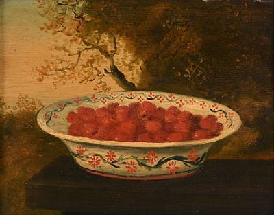 Lowestoft Painting - Still Life Of Raspberries In A Lowestoft Bowl by James Sillett
