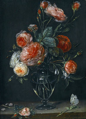Alexander Adriaenssen Painting - Still Life Of Roses In A Glass Jar On A Stone Ledge With A Butterfly by Alexander Adriaenssen