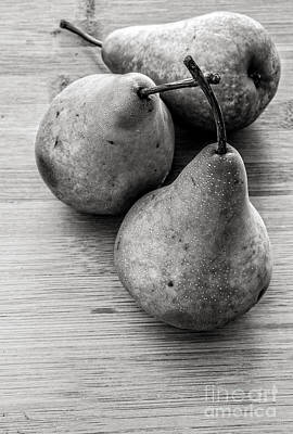 Ripe Photograph - Still Life Of Three Pears by Edward Fielding