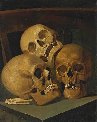 Skull Painting - Still Life Of Three Skulls by Henri Leys