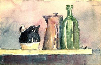 Bottle Painting - Still Life On A Shelf by Arline Wagner