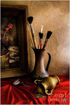 Still Life Painting, Brushes And Bronze Jugs Original by Benjamin Gelman